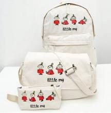 3 Bags/set Cute Moomin Little My backpack/Messenger bag /handbag Girl Women Canvas Zipper Bags Christmas Birthday Gifts 6 Colors