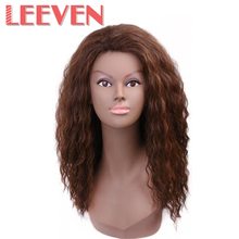 Leeven Synthetic Hair None Lace Wigs Long Nature Wavy Wig For Black Woman High Temperature Fiber Heat Resistant