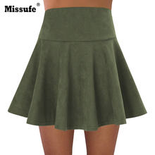 Buy High Waist Line Faux Suede Skirt Women 2017 Autumn Winter Casual Pleated Mini Skirts for $12.99 in AliExpress store