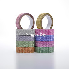 10PCS 15mm4m Mix colors Wheat Origami Handmade paper DIY For school Washi Tape Book Decoration DIY Adhesive Paper Scrapbook(China)