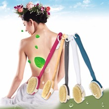 1 pcs Natural Long Wood Wooden Body Brush Massager Bath Shower Back Scrubber Worldwide FreeShipping New Arrival
