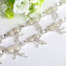 1Yard Rabbit Head Crystal Pearl Rhinestone Cup Chain Silver Base For Wedding Dress Decoration Rhinestone Applique Sew on Garment