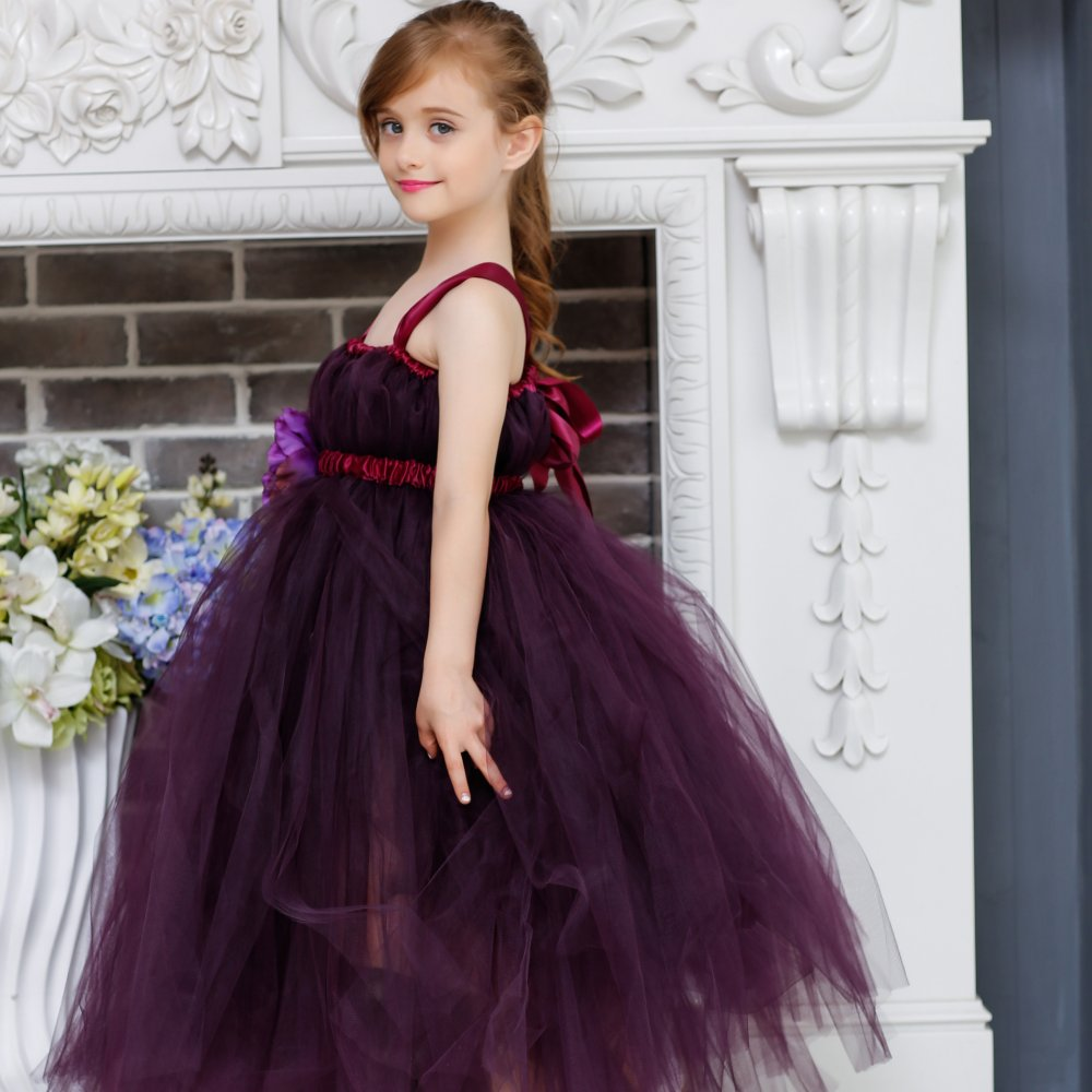 Elegant Purple Flower Girl Ribbon Tulle Tutu Dress Child Ankle Length Prom Gown Evening Party Dance Dresses For Photograph<br>