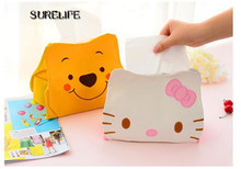 5pcs Hello KITTY Winnie the Pooh Cute Home Car Tissue Case Box Container Towel Napkin Papers BAG Holder storage BOX orginazer