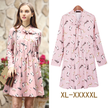 Casual Shirt Dress 2017 Designers Early Spring Summer Dress Women Elastic Waist Long Sleeve Lovely Pink Flowers Printed Dress(China)