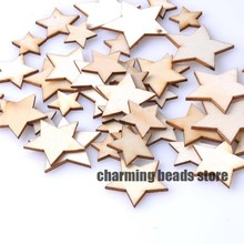 10-30mm Natural wooden Star Scrapbooking Carft for Home decoration About 100pcs MT0589