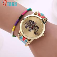 Novel Design relogio feminino Retro Clock Women Girl watches Handmade Braided Elephant Bracelet Dial Quarzt ladies watch jy15