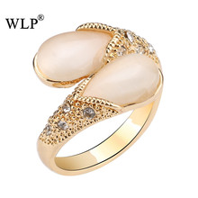 WLP New Arrival Water Drop Shape White Opals Precious Stone Gold&Silver Plated Elegant High Quality Fashion Finger Rings(China)