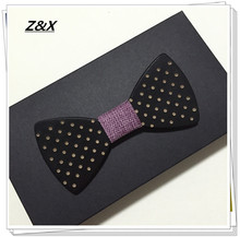 Newest novelty purple fabric mens wooden bowtie wedding party handmade dot butterfly tie bow tie for suit  Z&X