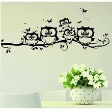 wall sticker tree animals bedroom Owl Butterfly Wall Stickers home decor living room butterfly for kids rooms vinilos paredes 20(China)