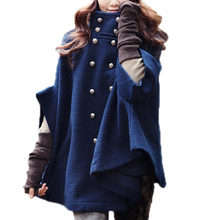 TFGS Women's Double-breasted Poncho Cape Wool Cloak Coat Outerwear Navy Blue(China)