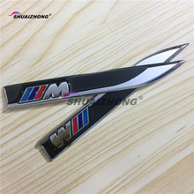 2PCS ///M M power logo Car door Fender side Sticker Emblem Badge decoration decal styling Black & Red Free shipping(China)