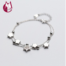 100% Real 925 Sterling Silver Bracelets & Bangles For Women Jewelry Fashion Double Chain Star Charm Bracelet With Crystal S1997(China)