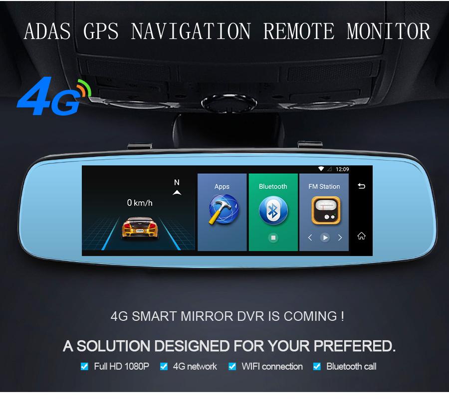 "Junsun 4G ADAS Car DVR Camera Digital Video recorder mirror 7.86"" Android 5.1 with two cameras dash cam Registrar black box 16GB 3"