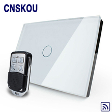 Cnskou US 1gang 110v 220v light touch switch with controller white black crystal glass panel wall smart touch sensor switch(China)