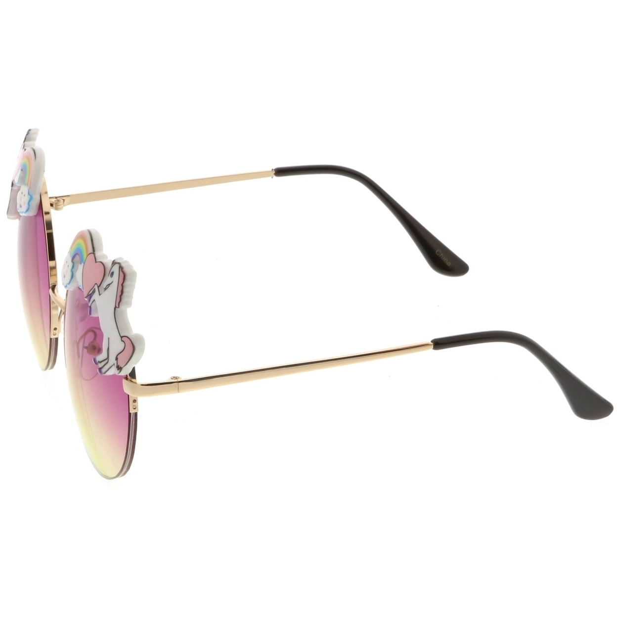 Unicorn Rainbow Semi Rimless Round Sunglasses With Gradient Colored Lens 56mm (3)