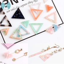 DIY earrings pendants ornaments materials fittings imports, acetate, fresh powder, green triangular geometry, pierced film(China)