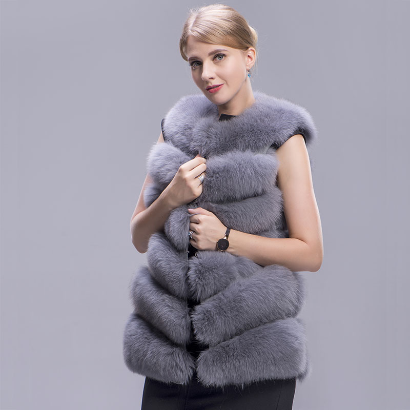 fox fur vest 6 lines grey 6