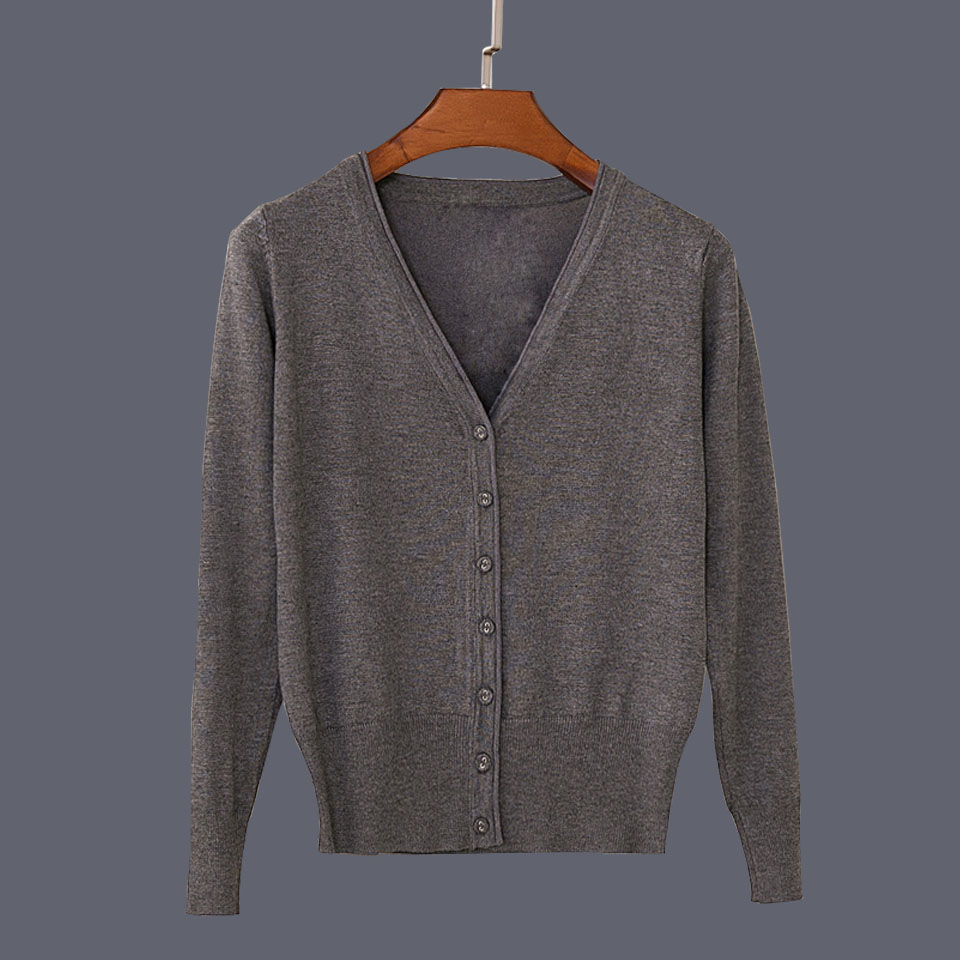 17 New Top Selling Spring Woman Sweater Tops Fashion Knitted Long Sleeve V-Neck Solid Loose Size Casual Woman Cardigan Sweater 35