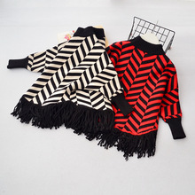 Baby Girl Tassel Sweater 2017 Girls Knitting Top Cute Kids Stripe Sweater Fashion Childrens Sweater Belle Clothes(China)