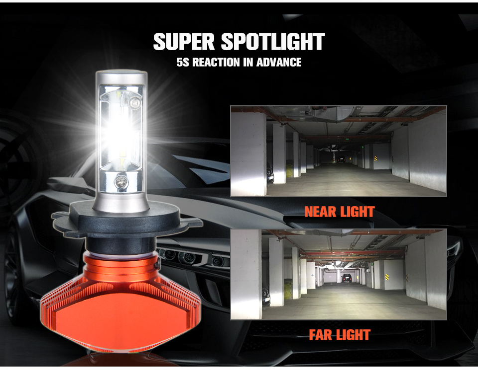 Aceersun H4 Hi Lo Car LED Headlight Bulbs 80W Fanless 12000LM 6500K CSP Led Auto Headlamp Fog Lamp Lighting Bulb 12v 24v HB2 H 4 (6)
