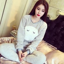 New Warm Winter Flannel Women Pajamas Set Sleepwear Thick Coral Fleece Plush Nightwear Long Sleeve Casual Ladies Home Clothes