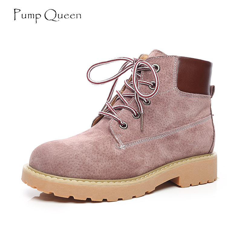 PumpQueen Taro Purpl Ankle Boots Women Shoes for Woman Genuine Leather 2018 Spring Female Shoes Casual Boots Lace Up Round Toe<br>