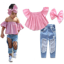 2017 New baby girls tube top +hole jeans +headdress set fashion summer children's casual clothing princess flower clothes 17A801