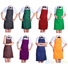 Fashion Plain Apron with Front Pocket for Chefs Butchers Kitchen Cooking Craft UK Baking Home Cleaning Tool Accessories 02XQ