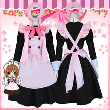 2Colors Card Captor Kinomoto Sakura Daidouji Tomoyo Maid Uniform Cosplay Costume Halloween Fancy Party Lolita Apron Dress