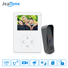 "Jeatone 4"" 1200TVL HD Audio Door Phone Wired Video Home Intercom System Security Can Link CCD Camera Release Unlock(China)"