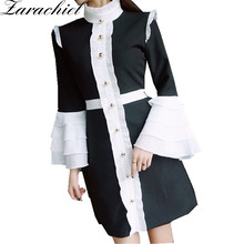Zarachiel New 2018 Spring Women Long Flare Sleeve Ruffles Black White Contrast Color Button Vintage Palace Victorian Party Dress(China)