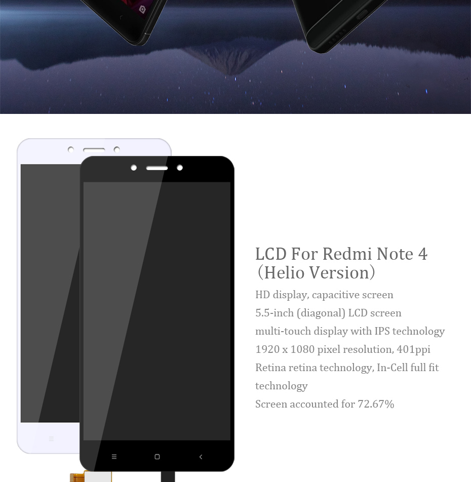 HORUG 100% AAAA Original LCD For Xiaomi Redmi Note 4 Screen LCD Helio Version Replacement Display Redmi Note 4 Touch Screen LCDS (8)