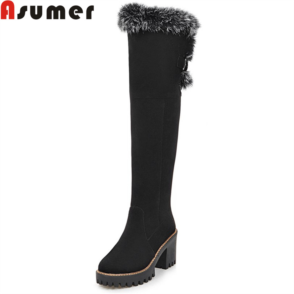 ASUMER fashion new women boots round toe zipper flock black brown ladies boots buckle square heel platform over the knee boots<br>
