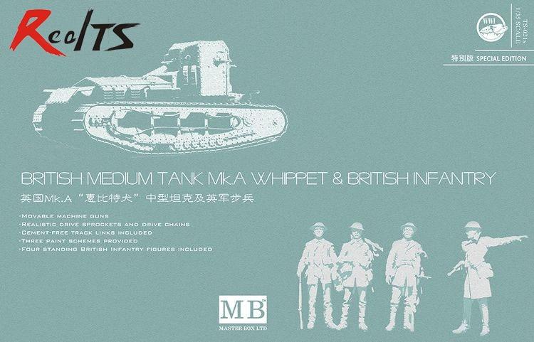 RealTS Meng Model 1/35 TS-021s British Medium Tank Mk.A Whippet &amp; British Infantry<br>