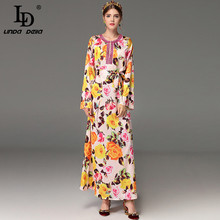 High Quality 2017 Fashion Designer Maxi Dress Women's Long Sleeve Loose Floral Printed Holiday Casual Long Dress(China)