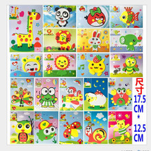 12pcs/lot 2016 Cute DIY Handmade 3D Eva Foam Puzzle Sticker Self-adhesive Eva Crafts Toys Learning & Education Toys 17.5*12.5cm