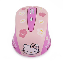 Cute Pink Hello Kitty Hellokitty Wireless 2.4Ghz Optical Mouse Mini 3D USB Optical Mice Mouse For PC Laptop Notebook Computer