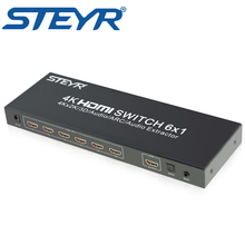 STEYR 6 Port hdmi switch, 4kx2k 6x1 6 in 1 out Switcher HDMI with Toslink Optical Audio extractor Supports ARC, IR 2160p 30Hz
