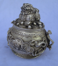 Rare old antique tibet silver carved fu fo dog pot with Bottom mark /metal pot free shipping 00021(China)