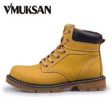 VMUKSAN Men Boots EURO 42-45 New 2017 Leather Ankle Boots Mens Fashion Shoes Autumn Booties Waterproof Rain Boots