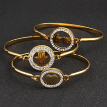 2018 New Gold Color Stainless Steel Pave Crystal Love Heart Hamsa Hand Thin Cuff Bangle Bracelet Women Female as Valentines Gift(China)