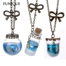 FUNIQUE Brand Design Natural Style Ocean Drift Glass Bottles Lucky Pendant Necklace Lucky Wish Locket Jewelry For Women Friend