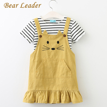Bear Leader Girls Sets 2017 New Children Clothing Strap Dress Sets Kids Clothes Pullover Striped Shirt+Dress 2Pcs Suit Outwears