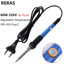 60W 220V EU Plug Electric Soldering Iron 200-450 Deg.C Adjustable Temperature Internal Heating Welding Tool for Electronics Work