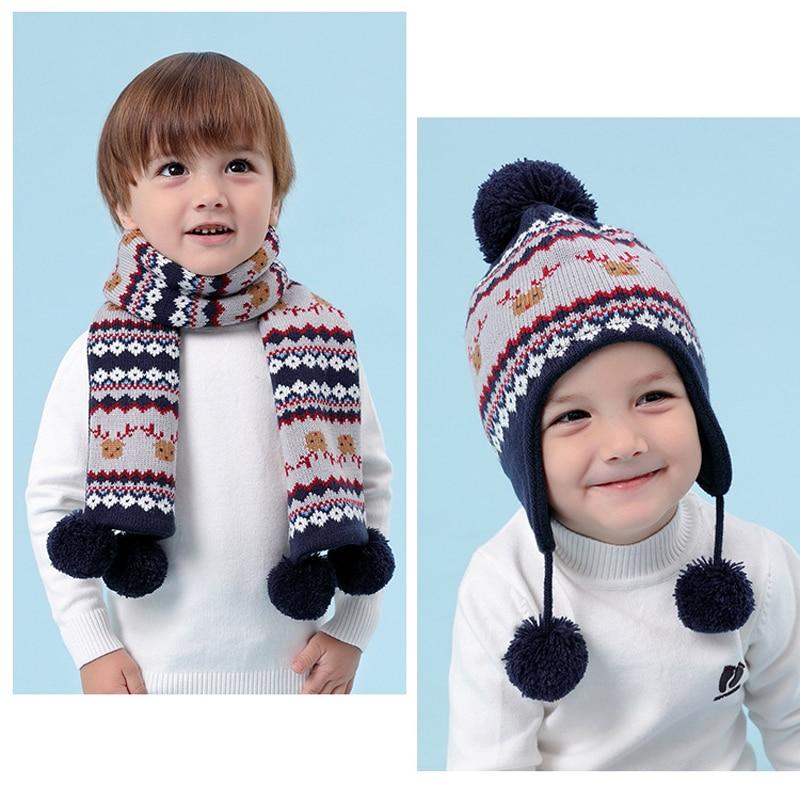 Children Hat Winter Christmas Elk Pattern Hat for Boy Girls Winter Warm Hat  Kids Ear Flap Cap Kids Crochet Thickened Caps Scarf  127a7752aca4