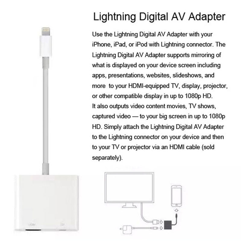 AHHROOU 1080P HDMI Cable For Lightning To AV HDMI / HDTV TV Digital Cable Adapter For iPhone X 8 For iPhone 7 Plus For iPad Mini 9