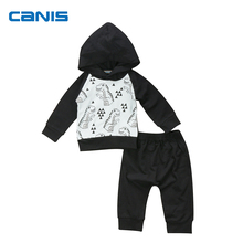 Newborn Toddler Baby Boy Clothes Cartoon Dinosaur Hoodies Tops + Harem Pants Outfits Set Bebes Clothes 0-24M(China)