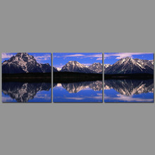 3pcs/set Modern Landscape decoration blue sky wall art pictures lake Snow mountains Canvas Painting for living room unframed