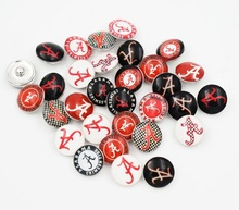 ALABAMA NCAA FOOTBALL Glass Snap button Jewelry Charm for Snap Jewelry Mixed 50PCS(China)